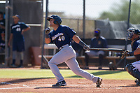 Milwaukee Brewers third baseman Dallas Carroll (40) follows through on a home run swing during an Instructional League game against the San Diego Padres on September 27, 2017 at Peoria Sports Complex in Peoria, Arizona. (Zachary Lucy/Four Seam Images)