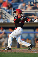 Batavia Muckdogs second baseman Iramis Olivencia (49) at bat during a game against the Connecticut Tigers on July 21, 2014 at Dwyer Stadium in Batavia, New York.  Connecticut defeated Batavia 12-3.  (Mike Janes/Four Seam Images)