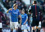 Hearts v St Johnstone…19.03.16  Tynecastle, Edinburgh<br />Murray Davidson has words with ref Craig Thomson<br />Picture by Graeme Hart.<br />Copyright Perthshire Picture Agency<br />Tel: 01738 623350  Mobile: 07990 594431