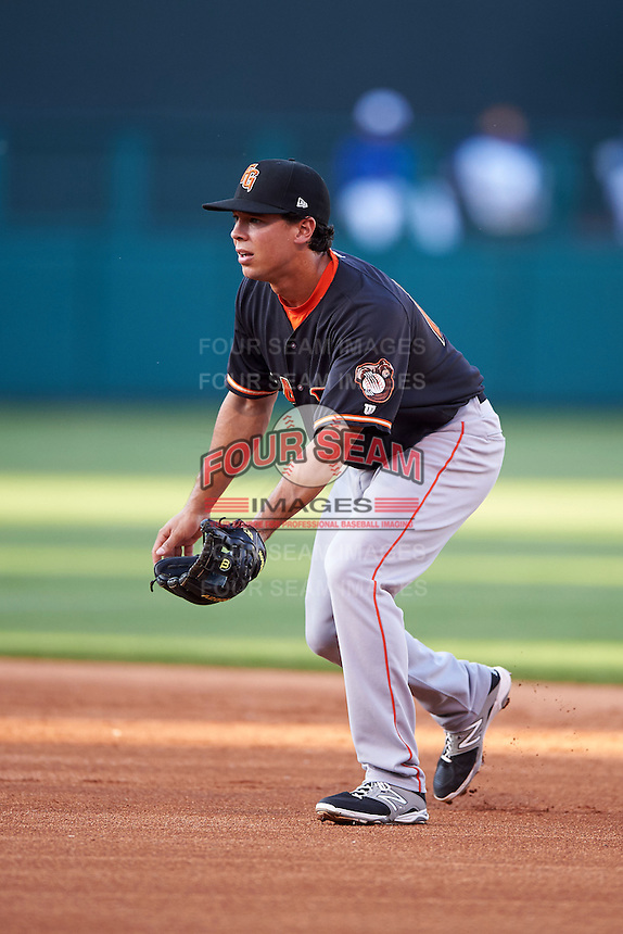 Fresno Grizzles second baseman Joe Sclafani (14) during a game against the Oklahoma City Dodgers on June 1, 2015 at Chickasaw Bricktown Ballpark in Oklahoma City, Oklahoma.  Fresno defeated Oklahoma City 14-1.  (Mike Janes/Four Seam Images)