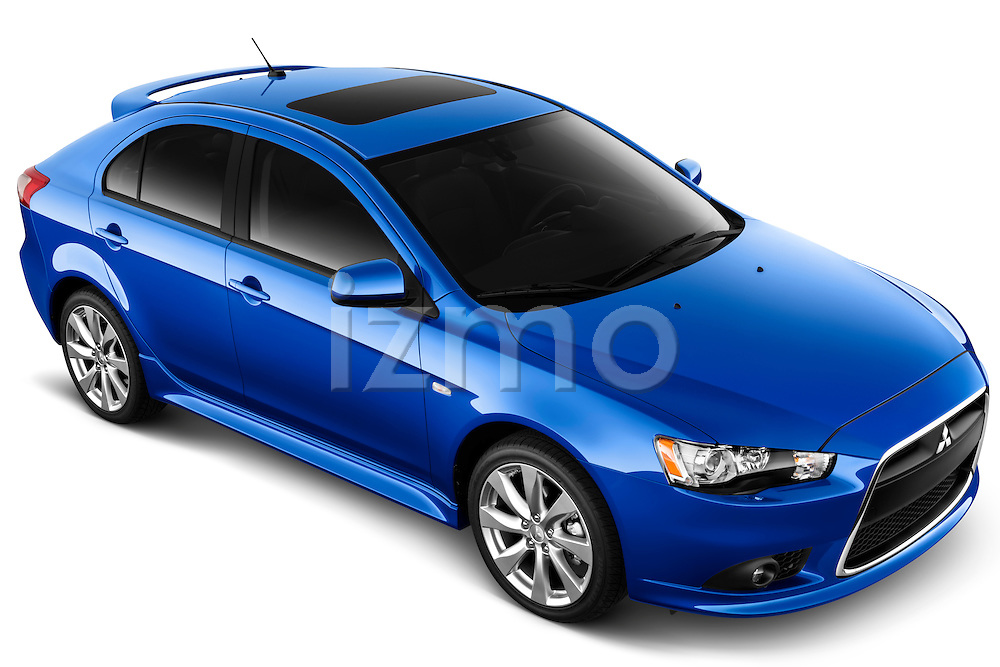 High angle front three quarter view of a 2012 Mitsubishi Lancer Sportback GT.