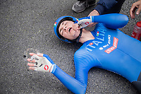 New (2017) Junior Women's iTT World Champion Elena Pirrone (ITA) falls exhausted to the ground after finishing and is overtaken by emotion for a moment<br /> <br /> Women Junior Individual Time Trial<br /> <br /> UCI 2017 Road World Championships - Bergen/Norway