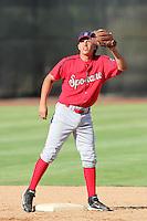 Spokane Indians infielder Edwin Garcia #1 before a game against the Salem-Keizer Volcanoes at Volcanoes Stadium on August 10, 2011 in Salem-Keizer,Oregon. Salem-Keizer defeated Spokane 7-6.(Larry Goren/Four Seam Images)