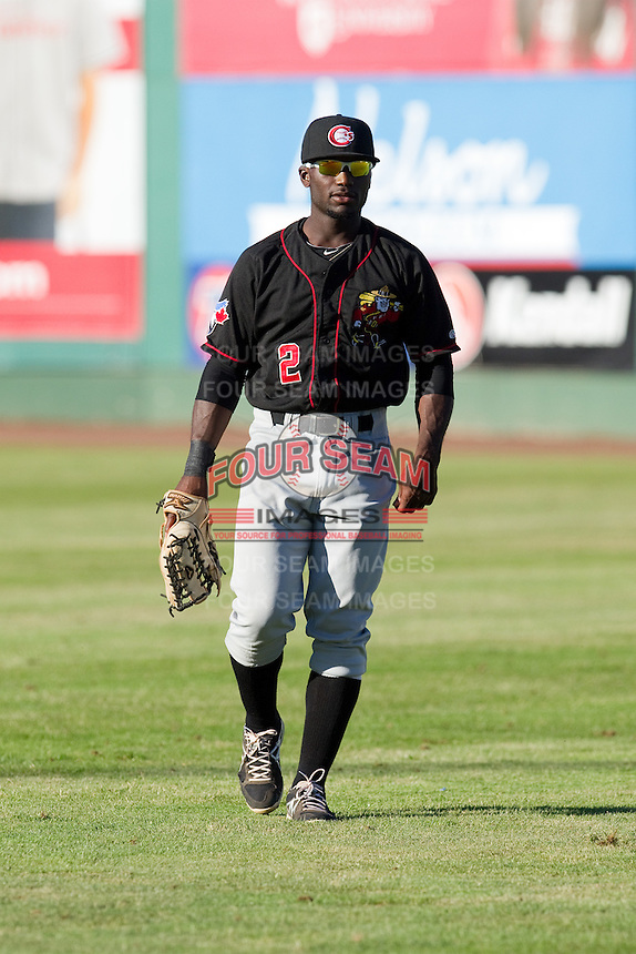 Roemon Fields #2 of the Vancouver Canadians prior to a game against the Everett AquaSox at Everett Memorial Stadium in Everett, Washington on July 9, 2014.  Everett defeated Vancouver 9-4.  (Ronnie Allen/Four Seam Images)