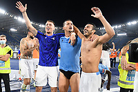 26th September 2021;  Stadio Olimpico, Rome, Italy; Italian Serie A football, SS Lazio versus AS Roma; players of SS Lazio celebrate their victory at the end of the match