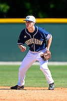 Notre Dame Fighting Irish shortstop Lane Richards #4 during a game against the Mercer Bears at the Buck O'Neil Complex on February 17, 2013 in Sarasota, Florida.  Mercer defeated Notre Dame 5-4.  (Mike Janes/Four Seam Images)