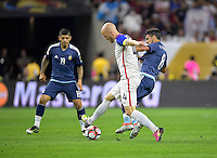 Houston, TX - Tuesday June 21, 2016: Michael Bradley, Augusto Fernandez during a Copa America Centenario semifinal match between United States (USA) and Argentina (ARG) at NRG Stadium.