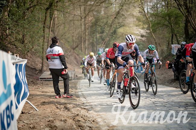 Jasper Stuyven (BEL/Trek-Segafredo) up the brutal Moskesstraat<br /> <br /> 61st Brabantse Pijl 2021 (1.Pro)<br /> 1 day race from Leuven to Overijse (BEL/202km)<br /> <br /> ©kramon