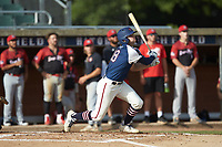 Will Schroeder (18) (UNC) of the High Point-Thomasville HiToms follows through on his swing against the Deep River Muddogs at Finch Field on June 27, 2020 in Thomasville, NC.  The HiToms defeated the Muddogs 11-2. (Brian Westerholt/Four Seam Images)