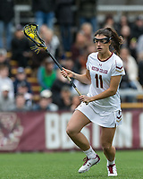 Newton, Massachusetts - February 24, 2018: NCAA Division I. Boston College (white) defeated Brown University (brown), 22-12, at Newton Campus Lacrosse Field.