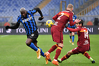 Romelu Lukaku of FC Internazionale, Rick Karsdorp and Gonzalo Villar of AS Roma compete for the ball during the Serie A football match between AS Roma and FC Internazionale at Olimpico stadium in Roma (Italy), January 10th, 2021. Photo Andrea Staccioli / Insidefoto