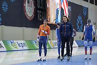 SPEEDSKATING: 12-02-2020, Utah Olympic Oval, ISU World Single Distances Speed Skating Championship, Koen Verweij (NED), Gerard van Velde (coach Team Reggenborgh), ©Martin de Jong