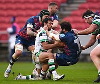 1st January 2021; Ashton Gate Stadium, Bristol, England; Premiership Rugby Union, Bristol Bears versus Newcastle Falcons; Peter McCabe of Bristol Bears is tackled by Matias Orlando of Newcastle Falcons