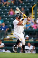 Bradenton Marauders catcher Reese McGuire (7) at bat during a game against the Jupiter Hammerheads on August 4, 2015 at McKechnie Field in Bradenton, Florida.  Jupiter defeated Bradenton 9-3.  (Mike Janes/Four Seam Images)