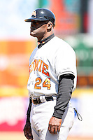 April 15th 2008:  Coach Moe Hill (24) of the Bowie Baysox, Class-AA affiliate of the Baltimore Orioles, during a game at Jerry Uht Park in Erie, PA.  Photo by:  Mike Janes/Four Seam Images