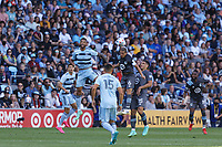 ST. PAUL, MN - AUGUST 21: Osvaldo Alonso #6 of Minnesota United FC with a header during a game between Sporting Kansas City and Minnesota United FC at Allianz Field on August 21, 2021 in St. Paul, Minnesota.