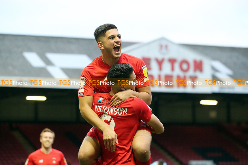 O' Connor Wilkinsn scores and celebrtes (with Ruel Sotiriou) during Leyton Orient vs Grimsby Town, Sky Bet EFL League 2 Football at The Breyer Group Stadium on 17th October 2020