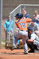 Houston Astros infielder Jack Mayfield (18) during a minor league spring training game against the Detroit Tigers on March 21, 2014 at Osceola County Complex in Kissimmee, Florida.  (Mike Janes/Four Seam Images)