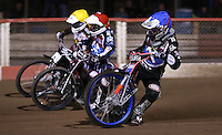 Heat 2: Adam Ellis (blue), Ben Morley (red) and Tom Perry (yellow) - Lakeside Hammers vs Leicester Lions, Elite League Speedway at the Arena Essex Raceway, Pufleet - 04/04/14 - MANDATORY CREDIT: Rob Newell/TGSPHOTO - Self billing applies where appropriate - 0845 094 6026 - contact@tgsphoto.co.uk - NO UNPAID USE