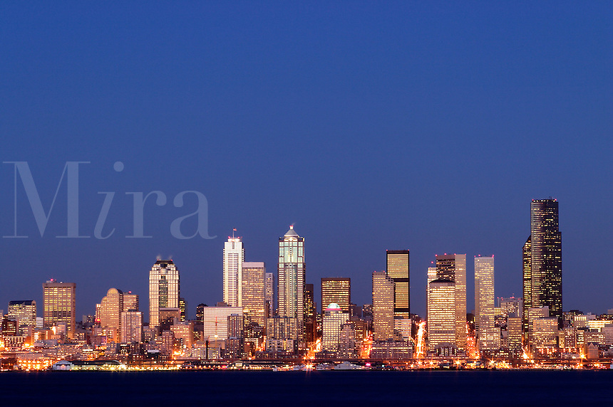 Seattle skyline and Elliot Bay viewed from West Seattle, Seattle, Washington, US