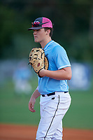 Jacob Reimer (21) during the WWBA World Championship at Terry Park on October 11, 2020 in Fort Myers, Florida.  Jacob Reimer, a resident of Yucaipa, California who attends Yucaipa High School, is committed to Cal State Fullerton.  (Mike Janes/Four Seam Images)