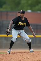 West Virginia Power starting pitcher Stephen Tarpley (46) in action against the Hickory Crawdads at L.P. Frans Stadium on August 15, 2015 in Hickory, North Carolina.  The Power defeated the Crawdads 9-0.  (Brian Westerholt/Four Seam Images)