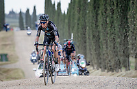 """Romain Bardet (FRA/DSM) over the final gravel sector of the day.<br /> <br /> 104th Giro d'Italia 2021 (2.UWT)<br /> Stage 11 from Perugia to Montalcino (162km)<br /> """"the Strade Bianche stage""""<br /> <br /> ©kramon"""