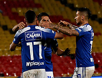 BOGOTA - COLOMBIA, 15-11-2020: Jugadores de Millonarios F. C. celebran el gol anotado Alianza Petrolera, durante partido entre Millonarios F. C. y Alianza Petrolera de la fecha 20 por la Liga BetPlay DIMAYOR 2020 jugado en el estadio Nemesio Camacho El Campin de la ciudad de Bogota. / Players of Millonarios F. C. celebrate the scored goal to Alianza Petrolera, during a match between Millonarios F. C. and Alianza Petrolera of the 20th date for the BetPlay DIMAYOR League 2020 played at the Nemesio Camacho El Campin Stadium in Bogota city. / Photo: VizzorImage / Luis Ramirez / Staff.