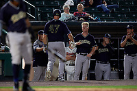 Scranton/Wilkes-Barre RailRiders Erik Kratz (47) high fives manager Jay Bell (left) and Trey Amburgey (right) after hitting a home run during an International League game against the Rochester Red Wings on June 24, 2019 at Frontier Field in Rochester, New York.  Rochester defeated Scranton 8-6.  (Mike Janes/Four Seam Images)