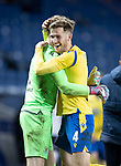 Rangers v St Johnstone…25.04.21   Ibrox.  Scottish Cup<br />Jamie McCart gives Zander Clark a hug as they celebrate victory in the penalty shoot out<br />Picture by Graeme Hart.<br />Copyright Perthshire Picture Agency<br />Tel: 01738 623350  Mobile: 07990 594431