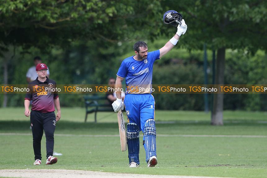 J Evans of Upminster celebrates reaching his century during Upminster CC vs Fives & Heronians CC, Hamro Foundation Essex League Cricket at Upminster Park on 5th June 2021