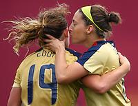 Goal scorer Vicki Dimartino kisses team mate Elizabeth Eddy..FIFA U17 Women's World Cup, Paraguay v USA, Waikato Stadium, Hamilton, New Zealand, Sunday 2 November 2008. Photo: Renee McKay/PHOTOSPORT