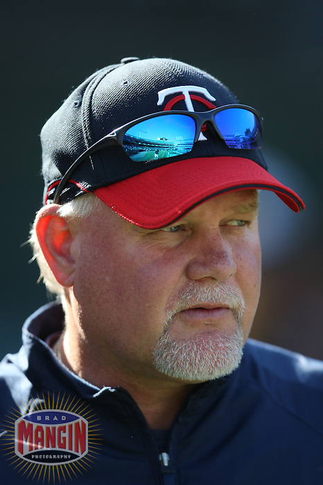 OAKLAND, CA - AUGUST 30:  Manager Ron Gardenhire of the Minnesota Twins watches batting practice before the game against the Oakland Athletics at the McAfee Coliseum in Oakland, California on August 30, 2008.  The Athletics defeated the Twins 3-2.  Photo by Brad Mangin