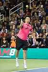 March 05, 2018: Bill Gates hits a forehand during his doubles set with Roger Federer (SUI) against Jack Sock (USA) and Savannah Guthrie at The Match for Africa 5 Silicon Valley played at the SAP Center in San Jose, California. ©Mal Taam/TennisClix