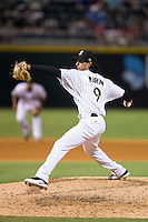 Charlotte Knights relief pitcher Terance Marin (9) in action against the Rochester Red Wings at BB&T BallPark on August 8, 2015 in Charlotte, North Carolina.  The Red Wings defeated the Knights 3-0.  (Brian Westerholt/Four Seam Images)