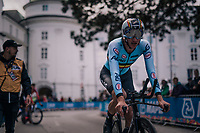 Brent Van Moer (BEL/Lotto-Soudal) realising the fastest time upon finishing; he will only be beaten for gold by the very last rider: defending champion Mikkel Bjerg<br /> <br /> MEN UNDER 23 INDIVIDUAL TIME TRIAL<br /> Hall-Wattens to Innsbruck: 27.8 km<br /> <br /> UCI 2018 Road World Championships<br /> Innsbruck - Tirol / Austria