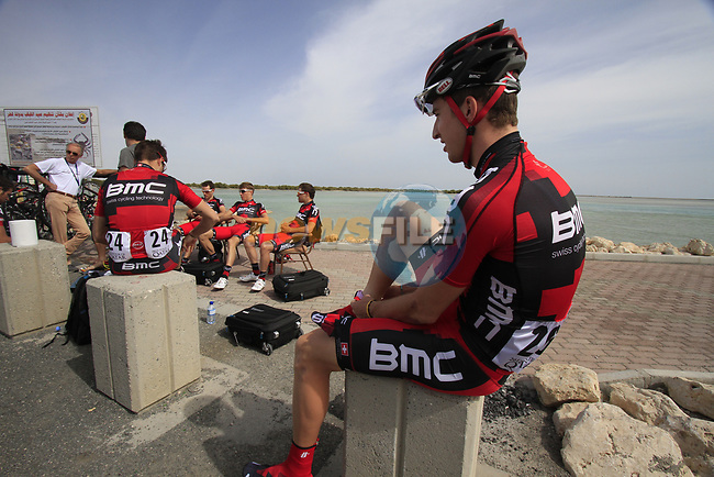 BMC Racing Team riders including Taylor Phinney (USA) relax before the start of Stage 4 of the 2012 Tour of Qatar from Al Thakhira to Madinat Al Shamal, Qatar. 8th February 2012.<br /> (Photo Eoin Clarke/Newsfile)
