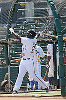 Potomac Nationals outfielder Michael Burgess of the Carolina League All- Stars taking batting practice before the California League vs. Carolina League All-Star game held at BB&T Coastal Field in Myrtle Beach, SC on June 22, 2010.  The California League All-Stars defeated the Carolina League All-Stars by the score of 4-3.  Photo By Robert Gurganus/Four Seam Images