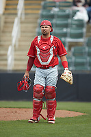 Lakewood BlueClaws catcher Colby Fitch (25) on defense against the Kannapolis Intimidators at Kannapolis Intimidators Stadium on April 8, 2018 in Kannapolis, North Carolina.  The Intimidators defeated the BlueClaws 4-3 in game two of a double-header.  (Brian Westerholt/Four Seam Images)