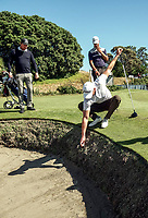 Cameron Jones pulls his ball off the wall of a bunker on the 9th. Day two of the Renaissance Brewing NZ Stroke Play Championship at Paraparaumu Beach Golf Club in Paraparaumu, New Zealand on Friday, 19 March 2021. Photo: Dave Lintott / lintottphoto.co.nz