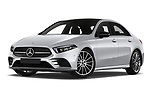 Stock pictures of low aggressive front three quarter view of 2019 Mercedes Benz A-Class - 4 Door Sedan Low Aggressive