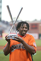 SAN FRANCISCO - JULY 9: Vladimir Guerrero of the Los Angeles Angels and the American League holds up the trophy after winning the home run derby during the All Star Game festivities at AT&T Park in San Francisco, California on July 9, 2007. Photo by Brad Mangin