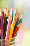 Colorful pencils in jar