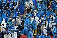 BOGOTA - COLOMBIA - 04 – 03 - 2018: Hinchas de Millonarios animan a su equipo durante partido de la fecha 6 entre Millonarios y America de Cali, por la Liga Aguila I 2018, jugado en el estadio Nemesio Camacho El Campin de la ciudad de Bogota. / Fans of Millonarios cheer for their team during a match of the 6th date between Millonarios and America de Cali, for the Liga Aguila I 2018 played at the Nemesio Camacho El Campin Stadium in Bogota city, Photo: VizzorImage / Luis Ramirez / Staff.