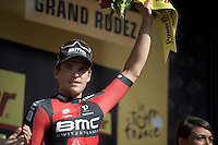 stage winner Greg Van Avermaet (BEL/BMC) on the podium<br /> <br /> stage 13: Muret - Rodez<br /> 2015 Tour de France
