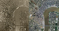 historical aerial map comparison 1964 2007, New Orleans, Louisiana