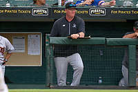 Jupiter Hammerheads pitching coach Jason Erickson (29) during a game against the Bradenton Marauders on June 23, 2021 at LECOM Park in Bradenton, Florida.  (Mike Janes/Four Seam Images)