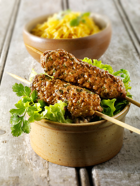 Kofta kebabs with pilau rice