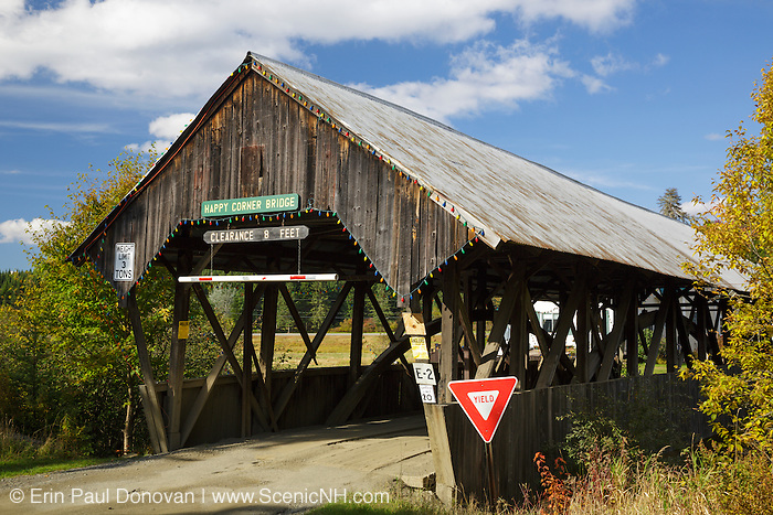 Happy Corner Covered Bridge in Pittsburg, New Hampshire USA during the autumn months. This bridge crosses over Perry Stream.