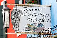 Italie, Vénétie, Venise,  Lagune de Venise,Île de Burano: Trattoria al Gatto Nero<br />  // Italy, Veneto, Venice, Venetian Lagoon, Burano island: Trattoria al Gatto Nero